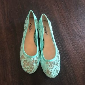 Lucky brand lace teal flats size 8.5